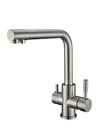 Standard Spout Vessel Widespread Rotatable with  Ceramic Valve Two Handles One Hole for  Nickel Brushed , Kitchen faucet