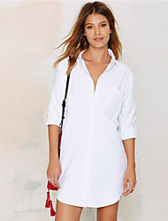 Women's Casual/Daily Simple Summer / Fall Blouse,Solid Shirt Collar ¾ Sleeve White Polyester Opaque
