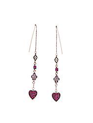 European Style Luxury Gem Long Earrrings Rhinestone Heart Drop Earrings for Women Fashion Jewelry Best Gift