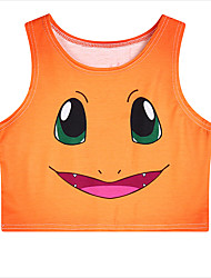 Inspired by Pocket Monster Ash Ketchum Anime Cosplay Costumes Cosplay Tops/Bottoms Print Orange Sleeveless Vest