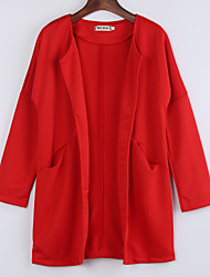 Women's Coat,Solid Round Neck Long Sleeve Winter Blue / Red Polyester Medium