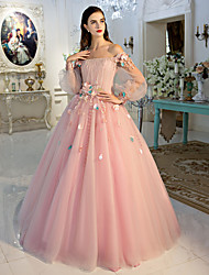 Ball Gown Off-the-shoulder Floor Length Tulle Evening Dress with Flower