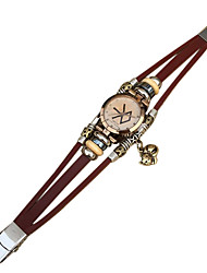 couro vintage da moda pulseira pulseira relógio das mulheres