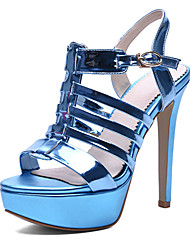 Damen-High Heels Sandalen-Kleid Party & Festivität-PU-Stöckelabsatz Plateau-Plateau Modische Stiefel-Blau Rot