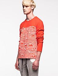 Kon® Da uomo Rotonda Maniche lunghe Maglietta Rosso-K15M-TS0139