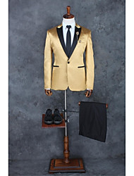 Suits Tailored Fit Peak Single Breasted One-button Polyester Solid 2 Pieces Champagne Straight Piped None Light Gray