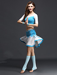 Dança do Ventre Roupa Mulheres Actuação Raiom / Elastano Plissado 3 Peças Meia manga Natural Saia / Top / ShortsSuitable Weight