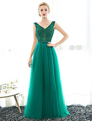 Formal Evening Dress Trumpet / Mermaid V-neck Floor-length Lace / Satin / Tulle with Pearl Detailing