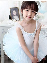 Ballet Outfits Children's Performance Cotton / Tulle Cascading Ruffle 1 Piece Blue / Pink Ballet Sleeveless Natural Dress
