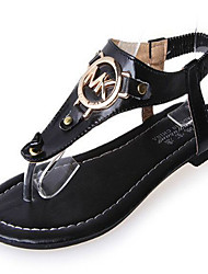 Women's Shoes PU Flat Heel Flip Flops Sandals Outdoor / Casual Black / White