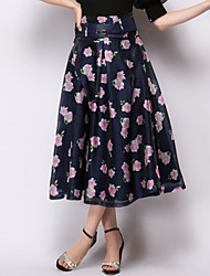 Women's High Rise Midi Skirts,Simple Swing Jacquard Floral
