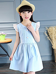 Girl's Cotton Summer Fashion Elegant  Lace Sleeve Princess Dress