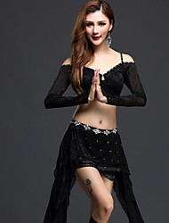 Belly Dance Outfits Women's Performance Tulle Paillettes 3 Pieces Black / Fuchsia / Green / Royal Blue Long Sleeve