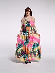 Women's Beach / Plus Size Sexy / Boho Swing Dress,Print Strap Maxi Sleeveless Pink Rayon / Polyester Summer