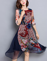 Women's Going out Vintage Loose / Sheath Dress,Floral Round Neck Asymmetrical ½ Length Sleeve Multi-color Silk Summer