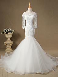 Sereia Vestido de Noiva Cauda Catedral Ombro a Ombro Tule com Renda