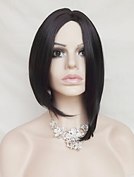 Star With High Temperature 12 Inch Black Short Straight Hair Silk Wig