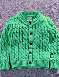 Girl's Casual/Daily Solid Sweater & Cardigan,Cotton Spring / Fall Blue / Brown / Green / Gray