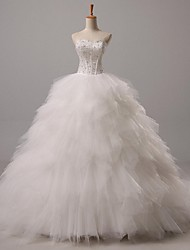 Ball Gown Sweetheart Court Train Tulle Wedding Dress with Beading