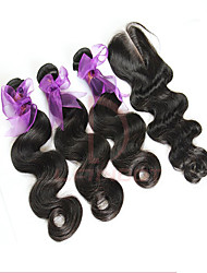 3 Bundles Peruvian Virgin Hair Body Wave With Closure Unprocessed Human Hair Weave And Free/Middle/3 Part Lace Closures