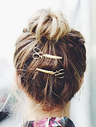 Set of 2 Gold Scissors Shape Hair Clip Barrette Pins for Lady Casul Hair Jewelry