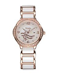 Semdu® Fashion Vintage Music Design Dial Ceramic Women Wristwatch Noctilucent Calendar Watch
