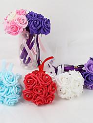 MINI Size PE Foam Rose Flower Round Shape  Bouquets for Bride Wedding (15*22CM,7 pcs Head)