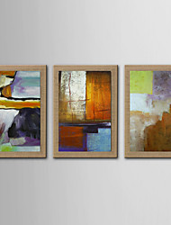 Oil Painting Modern Abstract Set of 3 Hand Painted Natura Linen With Stretched Frame