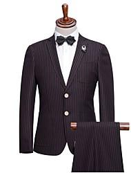 Costumes Coupe Slim Cranté Droit 2 boutons Polyester Rayures 2 Pièces Poche Passepoilée Droite Aucun (Plat) Rouge Aucun (Plat)