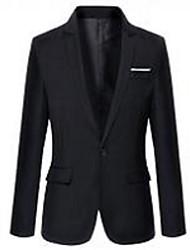 Costumes Coupe Sur-Mesure Cranté Droit 1 bouton Mélange de Coton Couleur Pleine 2 Pièces Noir Blanc Poche Plaquée Aucun (Plat) NoirAucun