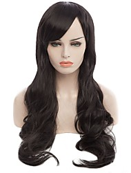 Natural Long Black Color Popular Wave Synthetic Wig For Woman