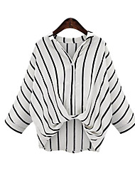 Women's Casual/Daily Street chic Spring Blouse,Striped Shirt Collar ¾ Sleeve White / Black Linen Thin