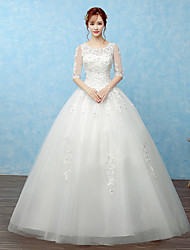 Ball Gown Wedding Dress Floor-length Scoop Lace / Satin / Tulle with Beading / Lace / Sequin