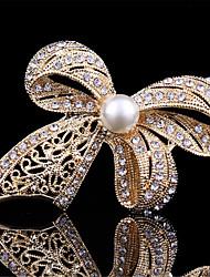 старинные броши Bowknot золота способа перлы для женщин