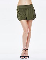 sólidas marrom / verde calções calças para senhora heartsoul, simples