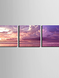 E-HOME® Stretched Canvas Art Sea Color Decoration Painting  Set of 3