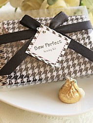 Recipient Gifts - 1Box/Set, Black & White Houndstooth Sewing Kit With Ribbons Wedding Favors