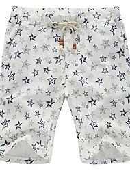 Men's Print Casual / Sport / Plus Sizes Shorts,Linen White