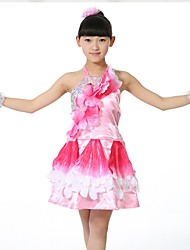 Performance Outfits Children's Performance Matte Satin Sequins 1 Piece Sleeveless Natural DressDress Length:XS:51cm S:53cm M:55cm L:57cm