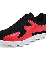 sapatos masculinos pu sapatilhas da forma atlética basquetebol atlético salto plana outros vermelho / branco / ouro