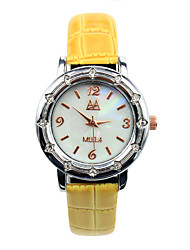Women's Crystal Decorative Candy Colored Leather Casual Quartz Watches