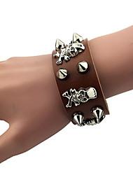 Men's Leather Wrap Bracelet with Skull Rivet