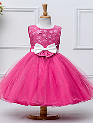 Ball Gown Knee-length Flower Girl Dress - Cotton Organza Satin Tulle Sequined Jewel with Appliques Bow(s) Sash / Ribbon Sequins
