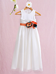 Ball Gown Ankle-length Flower Girl Dress - Satin Tulle Jewel with Flower(s) Ruching
