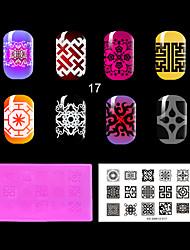 placa 1pc vermelho de plástico ambiental prego carimbar, padrões de estilo chinês. (KD-sm612-017)