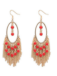 Exaggerated Fashion Temperament Long Tassel Earrings Beads