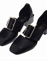 Женская обувь пу коренастый пятки пятки / квадратный сандалии пальца ноги на открытом воздухе / платье черный / белый