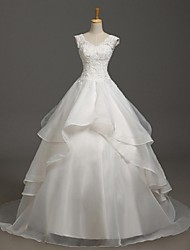 Ball Gown Wedding Dress Court Train V-neck Organza with Appliques / Beading