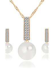 Halskette / Ohrringe Braut-Schmuck-Sets Künstliche Perle Modisch Künstliche Perle Strass Aleación Gold Silber Halsketten Ohrringe Für