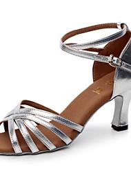 Обувь женская для латинских танцев (материал сатин)